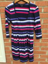 Women's French Connection Striped Stretch Dress Black/White/Red/Blue Size 6