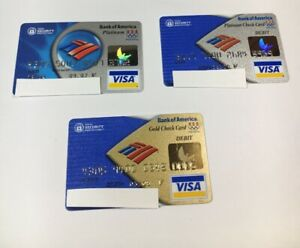 3 Expired Credit Cards For Collectors - Olympic Visa Bank Of America Set Debit