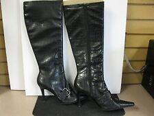 Amanda Smith black croc boots. size 9.5. high heel. side zip.