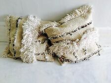Pair Vintage Moroccan Wedding Blanket Pillow. Handira. Organic Cotton Filling