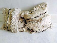 Pair Vintage Moroccan Wedding Blanket Pillow. Handira. Organic Cotton Filling