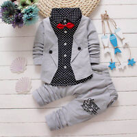 Winter Kid Baby Boys Gentleman Shirt Tops+Long Pants Formal Party Clothes Set CX