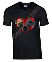 French Bulldogs in Heart Tshirt T-shirt V or Crew Neck Birthday Mothers Day Gift