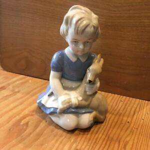 """Lippelsdorf Figure of Girl with Fawn 5"""" Tall PERFECT Not B and G or Copenhagen"""