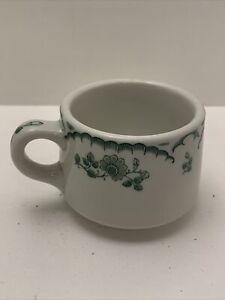 Vintage Shenango China Cup, New Castle, PA. Green Flower Design
