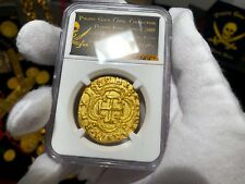 COLOMBIA 1622 8 ESCUDOS NGC GOLD PLATED ATOCHA PIRATE TREASURE COIN JEWELRY COB