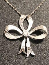 Vintage 18ct White Gold Bow Diamond Pendant Valuation $1975
