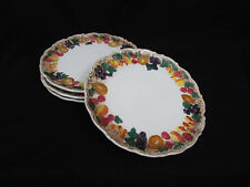 "4 Fruit Rim Dinner Plates 9 3/4"" Beautiful 4236"