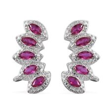 RED DIAMOND SIMULATE MARQUISE EAR CUFF PIERCED EARRINGS PLATINUM BONDED BRASS