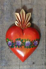 Sacred Heart Hand Carved & Painted Wood Flaming Michoacán Mexican Folk Art Love!