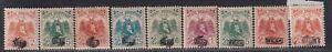 Albania Stamp 1920 -1922 Skanderbeg Overprinted in 3 Types set of 9, MH with OG
