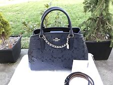 Coach F 55451 Small Margot Carryall In Signature Debossed Leather Midnight Black