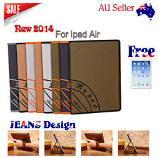 Jeans New Design HQ PU Leather Case Cover Stand print iPad i Pad Air 5 +Free Scr