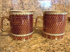 Gorgeous Handpainted Asian Coffee Mugs -- Lavish Detail And Gold Leaf Paint