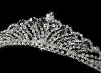 CLOSEOUT Price! Silver Clear Bicone Crystal Prom Bridal Wedding Tiara Headpiece