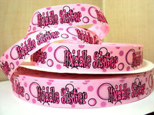 """** CLEARANCE ** 1m x 7/8"""" Middle Sister Circle Ribbon on Pink Grosgrain"""