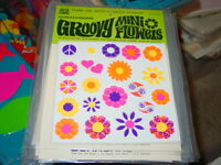 VINTAGE 1960's HIPPIE MINI FLOWER DECALS BLACKLIGHT COLLECTIBLE AMERICANA SEALED