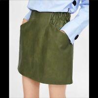 Zara Faux Leather Mini Skirt Pockets Vegan NWOT SZ XS
