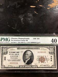 1929 10 Chester, Pennsylvania delware county NB 10 dollar bill PMG graded 40