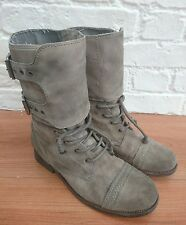 ALL SAINTS Taupe Grey Leather DAMISI Boots Size EU 41 UK 8 Combat Military Ankle
