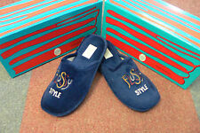 Navy Flossy Style Memory Foam Slippers UK7.5 Soft & Comfortable With Rubber Sole