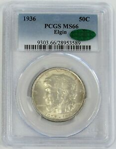 1936 ELGIN PIONEER COMMEMORATIVE HALF DOLLAR 50C COIN NGC MINT STATE 66 CAC