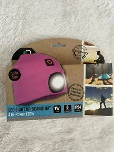 Discovery Adventures LED Light Up Beanie Hat Pink - New - Girl