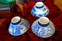 Set of 3 White Porcelain RICE BOWLS Painted in Cobalt Blue 3 Different Patterns