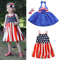 Toddler Baby Girls Star Print 4th Of July Tassel Straps Dress Striped Clothes