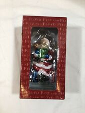 Fitz & Floyd Glass Ornament Santa With Gifts New