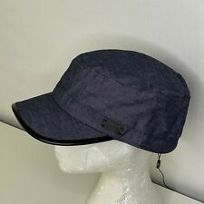 L/XL John Varvatos Star USA Mens Castro Hat Wool Leather Trim Denim Blue/Black