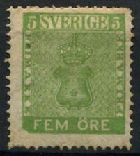 Sweden 1858 SG#6b 5ore Yellow-Green P14 MH #A91346