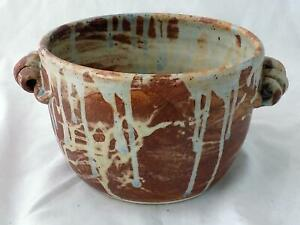 Signed Handmade NC Pottery Large Bowl Pot w/ Coil Handles Rust Brown Drip