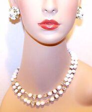 2 Strand WHITE & AURORA BOREALIS Crystal Beads w/Gold NECKLACE & EARRINGS Set