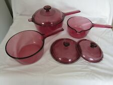 Corning, Visions, Rangetop Cookware, Cranberry, 6 Pc. Set New Old Stock