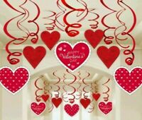 PACK OF 30 HAPPY VALENTINES DAY SWIRLS PARTY HANGING DECORATIONS LOVE HEARTS RED
