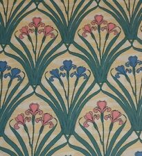 BTY Timeless Treasures ART NOUVEAU Pink Blue Irises 100% Cotton Quilting Fabric