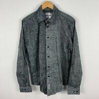 Nana Judy Mens Button Up Shirt Large Slim Grey Polka Dot Acid Wash Long Sleeve