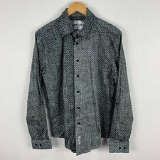 Nana Judy Mens Button Up Shirt Large Slim Grey Polka Dot Acid Wash Long Sleeve
