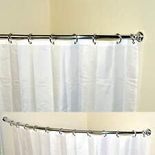 Telescopic  Extendable Curved Rail Bath Shower Curtain Pole Length 118-190cm
