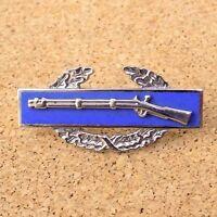 Military Pin Infantry Rifle Army Marksman Blue Enamel Gun & Wreath Pin Back