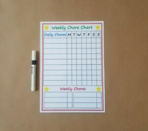 Weekly Chore Chart, daily chores, Handmade, laminated, reusable & dry wipe pen
