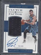 RICKY RUBIO 2016-17 NATIONAL TREASURES CLUTCH FACTOR JERSEY ON CARD AUTO #D /49