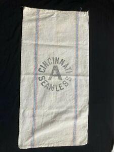 Vintage Flour Feed Grain Sack Large Cincinnati Seamless Stripes Cotton Canvas