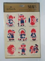 Vtg 1974 Raggedy Ann Andy Hallmark Stickers Self Adhesive Seals 4 Sheets Sealed