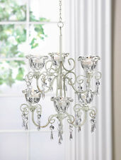 Crystal Chandelier Flowers Distressed Ivory Candleholder Wedding Hanging Decor