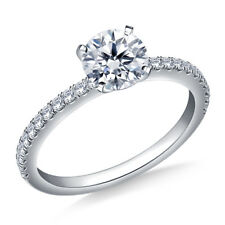0.74 Ct Diamond Engagement Beautiful Ring 9K White Gold Stylish Rings Size I J