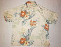 Hawaiian Shirt Tommy Bahama Mens Size XL Silk Color Ivory Floral Camp Aloha