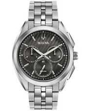 NEW BULOVA CURV CHRONOGRAPH 96A186 GREY DIAL STAINLESS STEEL BRACELET