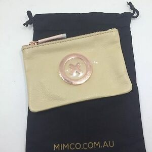 BNWT MIMCO SMALL MIM POUCH WALLET supernatural vanilla leather rose gold plating